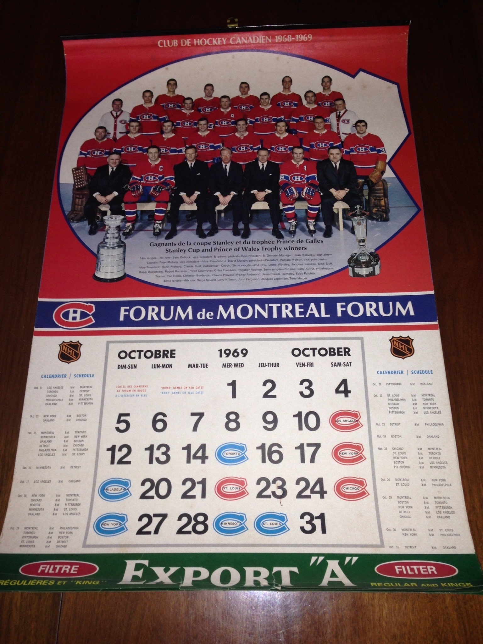 1969 70 Montreal Forum Export A Calendar