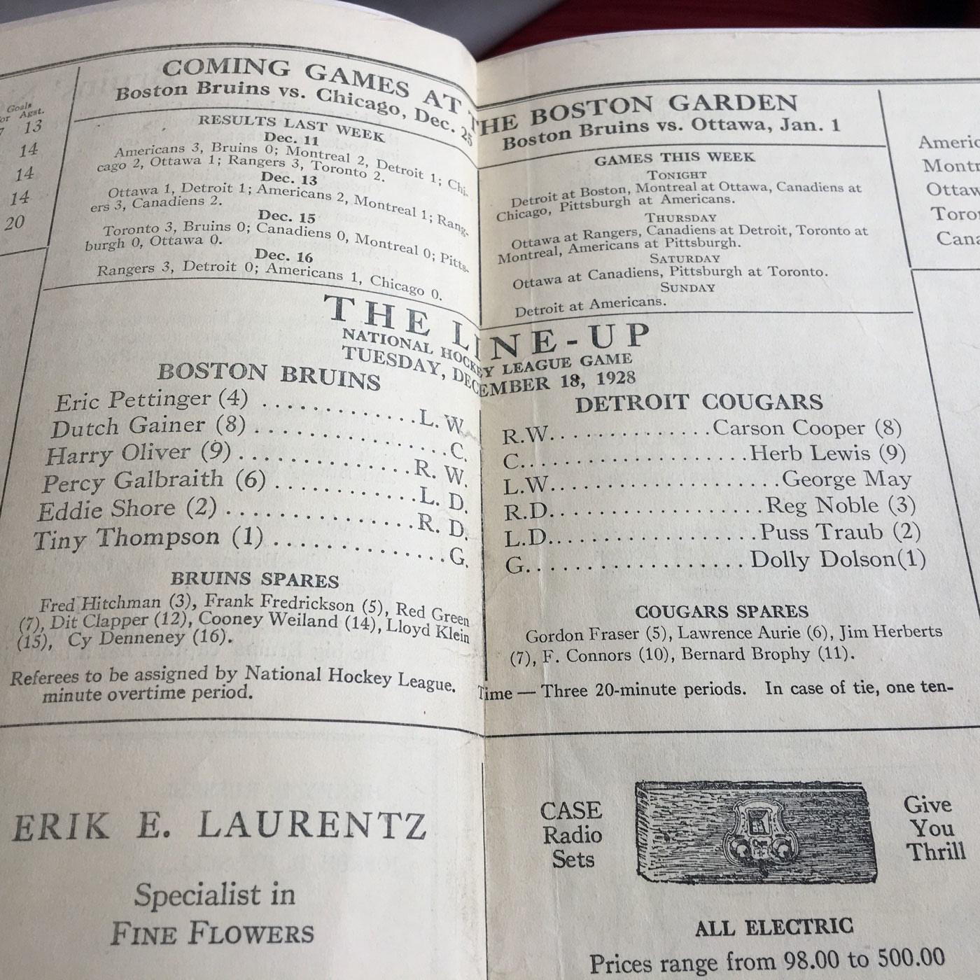 1928 NHL Boston Bruins First Year Boston Garden Program vs